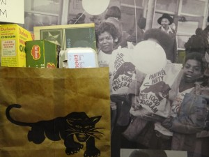Panther grocery bag from free food program, at the Oakland museum